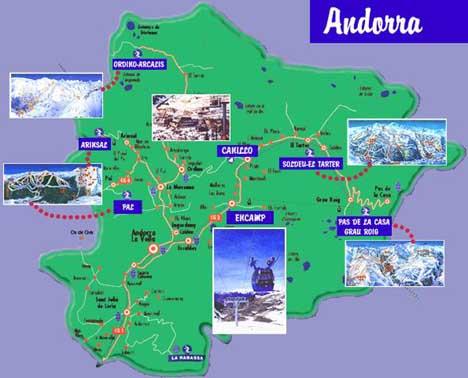 Карта курортов Андорры