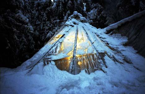 в палатке в лесу