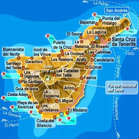 карта тенерифе канары