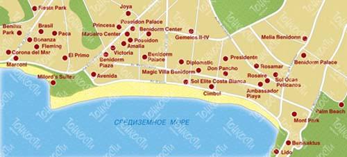 бенидорм на карте