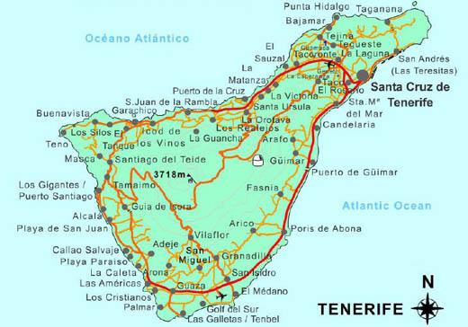 остров тенерифе на карте мира