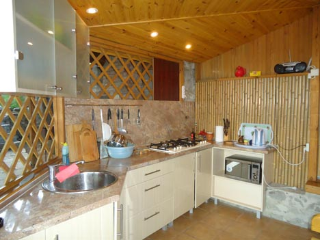 Кухня в деревянной беседке
