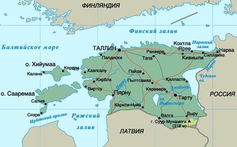 Эстония карта