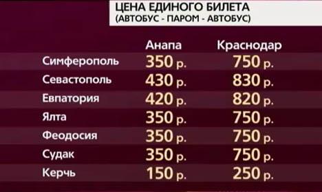 Цена единого билета в Крым