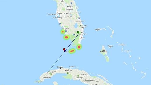линия падения метеорита над Кубой и Флоридой