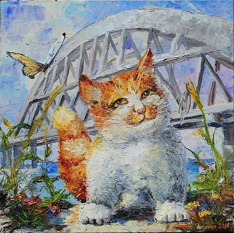 картина кот мостик