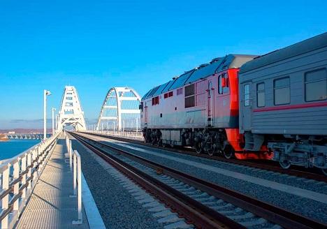 проезд поезда через крымский мост